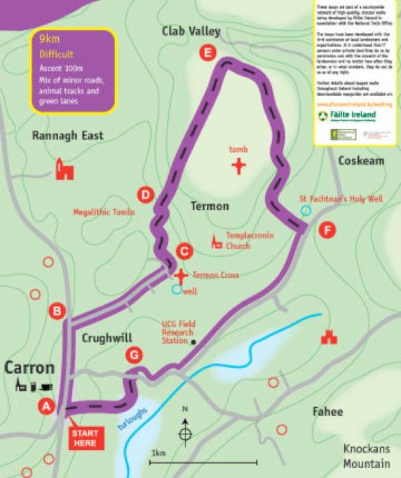 Map Of The Burren Ireland.Burren Walking Information Centre And Local Walks